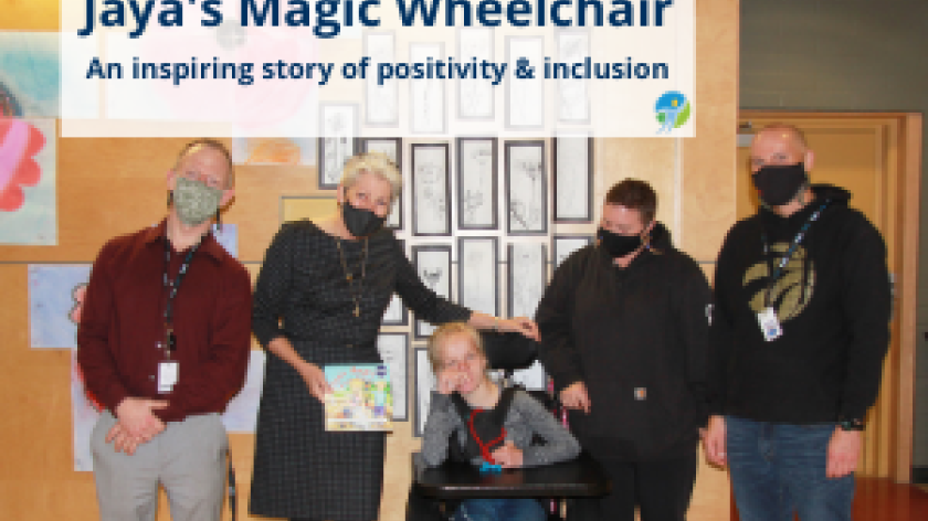 Group photo including Jaya and Marlene with text overlay: Jaya's Magic Wheelchair