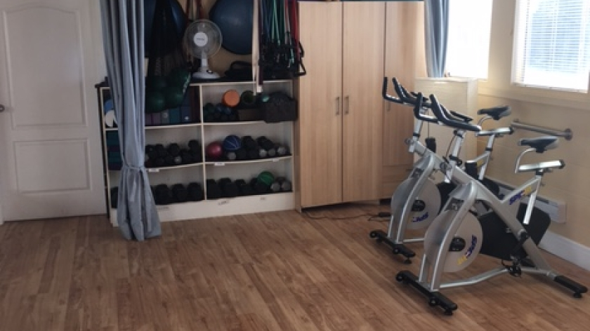 bikes, free weights, bands, stability balls and bosu's available for use
